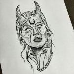 Plantilla mujer demonio sangrando ojos