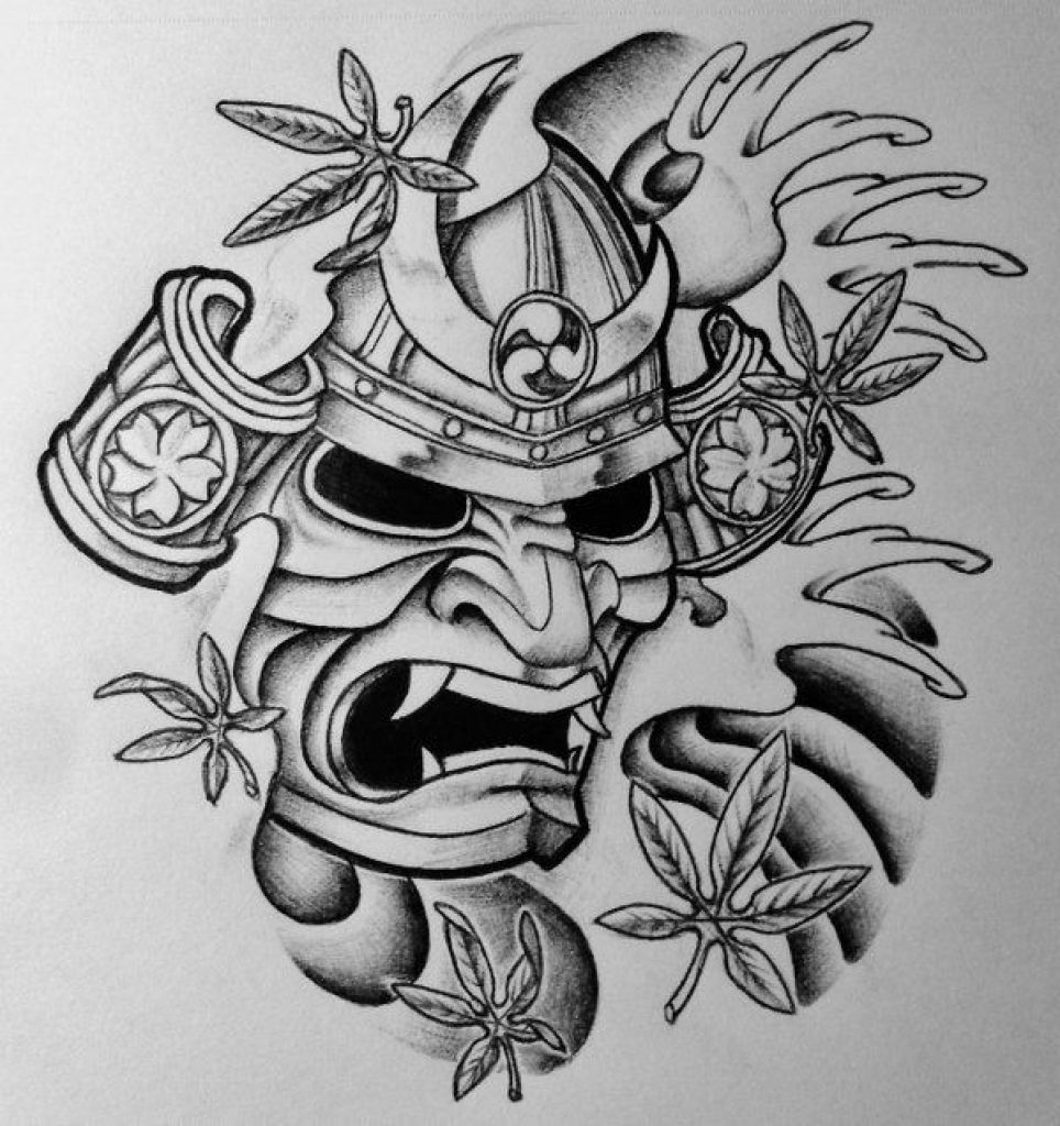 Plantilla tatuaje mascara japonesa hannya